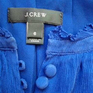 j crew blue sleeveless covered buttons  blouse  6